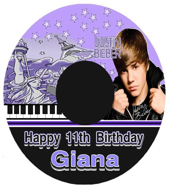 justin bieber birthday party theme. Justin Bieber CD Party Favor