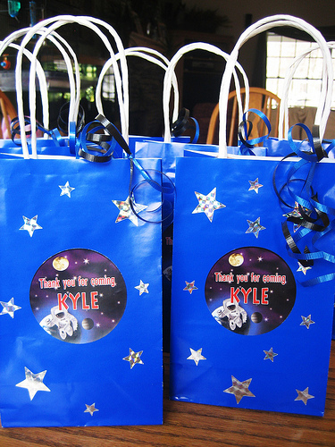 Our space party favor bags included space shuttle gummy candies