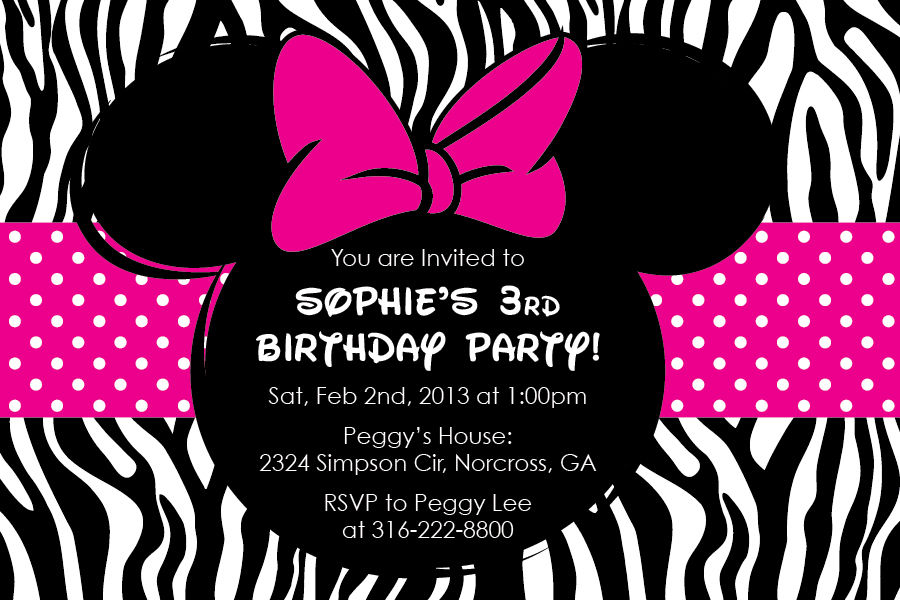 minnie mouse zebra party supplies - kids birthday parties, Birthday invitations