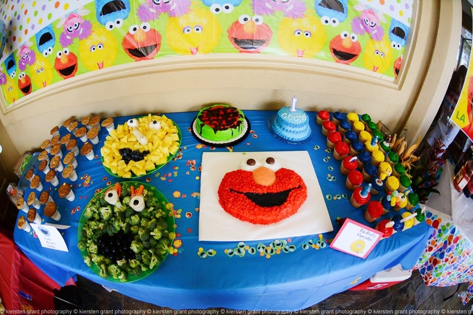 This Is A Photo Of The Amazing Cake Cupcake And Snacks Table Included On Elmo Cupcakes Cookies Milk Smash Big Bird Fruit
