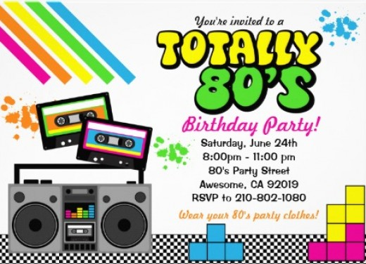 retro 's party ideas and supplies  kids birthday parties, Party invitations
