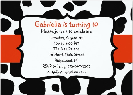 cow print party invitation